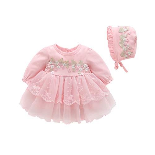 y Mädchen Kleid Spitze Einfarbig Säugling Langarm Kleider Frühling Tüll Tütü Party Urlaub Prinzessin Outfit Kleidung ()