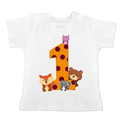 Geburtstag Baby - 1. Geburtstag Waldtiere - 12-18 Monate - Weiß - BZ02 - Baby T-Shirt Kurzarm (Jungen Geschenke Zum Geburtstag Alter 3)