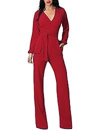 Tuta Donna Estiva Elegante Tute Lungo V Scollo Manica Lunga Jumpsuit Tasca  Frontale Puro Colore Pantaloni 372d66ffcfd
