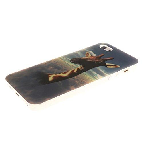 """iphone 5 Coque, SsHhUu Anchor Pattern Ultra Slim Doux TPU Flexible Durable Gel Silicone Protecteur Rear Skin Painting Art Étui Housse Case Cover pour Apple iphone 5 5S SE(4.0"""") Cloud"""