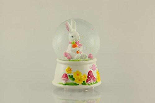 Musicbox World Lapin avec socle en porcelaine, tourne sur la mélodie « Fourrure Elise » Globe Musical, pierre, multicolore