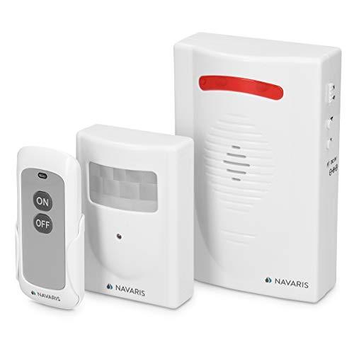 Navaris Kabelloses Bewegungsmelder Auffahrt Alarmsystem - mit Montagematerial und Fernbedienung - Alarm Einbruchschutz Set - Garage Funk Alarmanlage - Motion Sensor Alarm