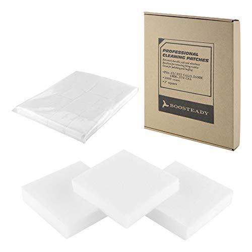 BOOSTEADY Professionelle quadratische Pistole Reinigung Patches in Karton Box Bulk für .22 .223 5.56MM .30 .357 .38 Kaliber 9MM 12GA Abwechslungsreiche Größe -