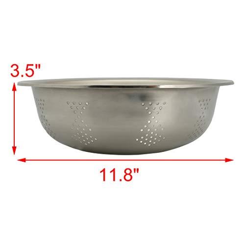 Sourcingmap Edelstahl Gemüse Obst Waschen Schüssel Sieb 30cm Durchmesser silber Ton - 2
