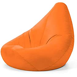 Bean Bag Bazaar® - Pouf Poire, Polyuréthane, Orange, 70 x 70 x 118 cm