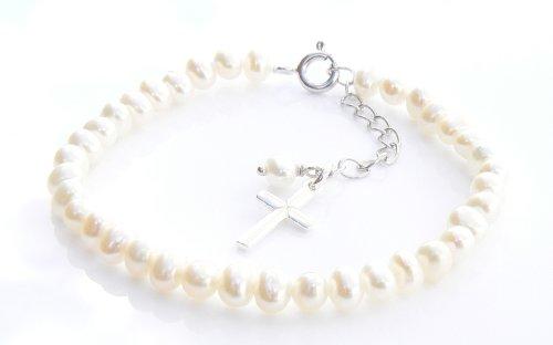Kommunion Elfenbeinfarben Armband–Süßwasserperlen und Sterling Silber Kreuz Charme Kreuz Charme