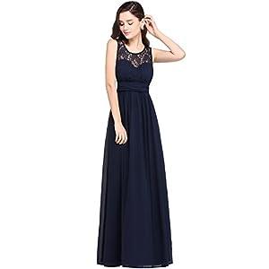 MisShow Damen Elegant A-Linie Chiffon Abendkleid Brautjungfernkleid Ballkleid lang 32-46