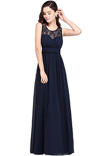 Damen 2017 Abendkleid Chiffon Partykleid Promkleid lang A-linie Navy Blau 42