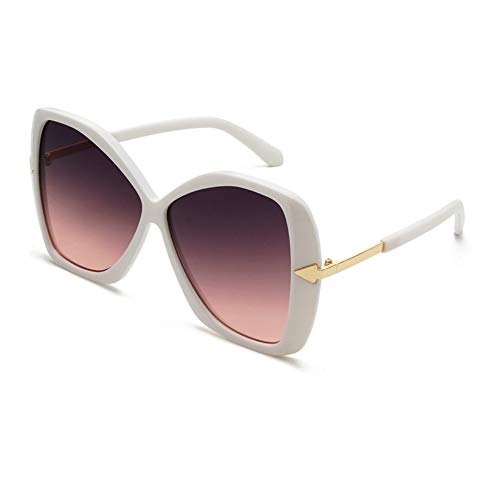 ZHONGYUAN Big Frame Cover Gesicht Sonnenbrille Schmetterling Typ Damen Sonnenbrille Pfeil Trend Brille, weiß lila