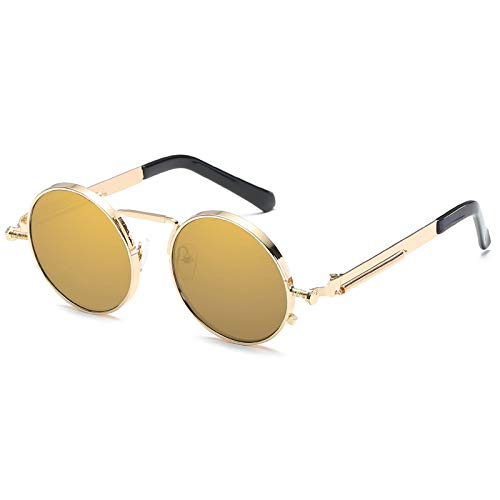 Kennifer Klassische Mode Runde polarisierte Sonnenbrille, Steampunk Stil Runde Vintage polarisierte Sonnenbrille Retro Brillen UV400 Schutz Matel Frame