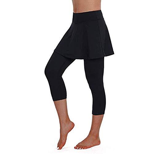 Damen Athletic-hose (Riou Rock Damen mit Hose Sommer Kurz Active Athletic Skort Leichter Tennisrock mit Innenhose Hosenrock für Damen Sportrock (XL, Black))