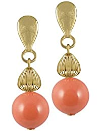 Duet Coral & Shell Pearl Drop Sterling Silver Pierced Earrings With Gift Box