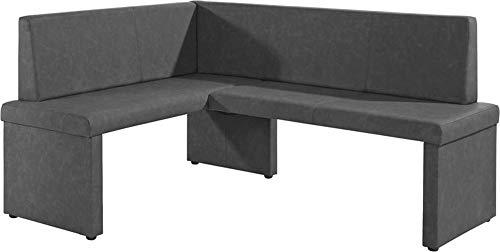 HOMEXPERTS Eckbank rechts MULAN / Moderne Sitzbank mit Lehne in schwarz / Küchen-Bank gepolstert / Vintage Lederimitat / Eckbankgruppe langer Schenkel rechts anthrazit / 125x165cm / 82x54cm (HxT)