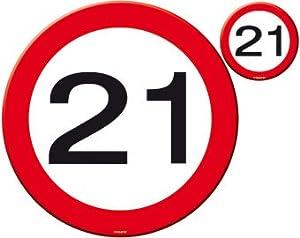 Untersetzer Verkehrsschild Zahl 21 Geburtstag Partido Deko