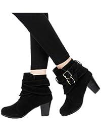 the latest f0c13 aa2c9 Sonnena Botas Martin de tacón alto - Botines de cuña para mujer Botines  planos Zapatos de