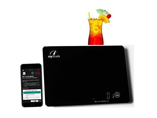 Cocktailwaage, Küchenwaage, digital, klein, flach, LED Display, bis 5Kg, Glasoberfläche, Touch, Tara, Akku, USB, Bluetooth, App, schwarz, weiss, Bar Zubehör, Cocktails mixen, normale Küchen Waage