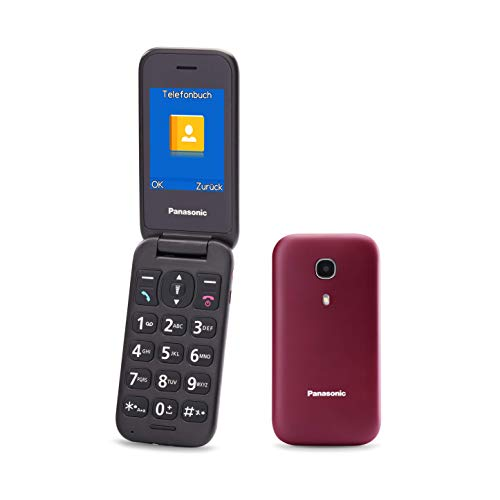 "Oferta de Panasonic KX-TU400EXR - Teléfono Móvil Para Personas Mayores (Botón SOS, Pantalla color TFT 2.4"", 450HRS en Reposo, 4HRS de Conversación, Linterna, Cámara, Bluetooth), color Burdeos"