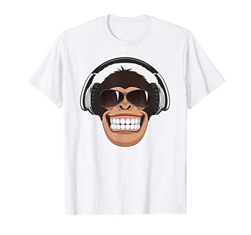 Frecher Affe mit Flieger-Sonnenbrille Musik Kopfhörer T-Shirt