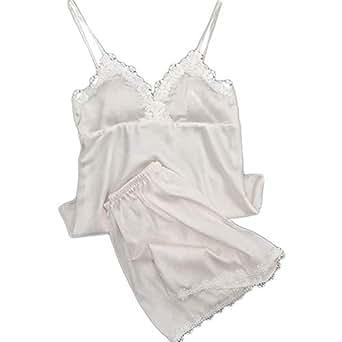 LOVELYOU Femme Pyjama Ensemble Satin Nuisettes Babydoll Lingerie Erotique Sexy Mode sous-Vêtements Jumpsuit Sleepwear Bretelles Dentelle Tentation Nuit Slim Chemise Combinaison Camis (S, blanc2)