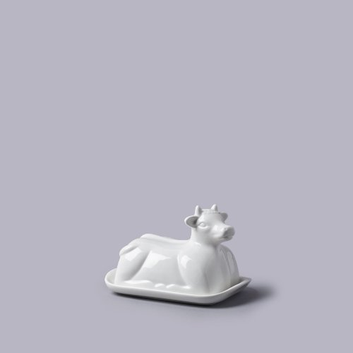 Vache Thème Beurrier En Céramique Blanche (19X14X7Cm)
