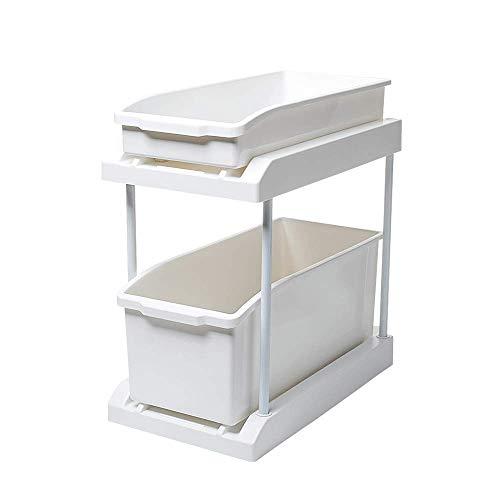AOLI Schiebekorb Organizer 2-Tier für Küche mit Schiebekorb Schublade, Badezimmerschrank Schubladen unter Waschbecken Schrank Organizer herausziehen