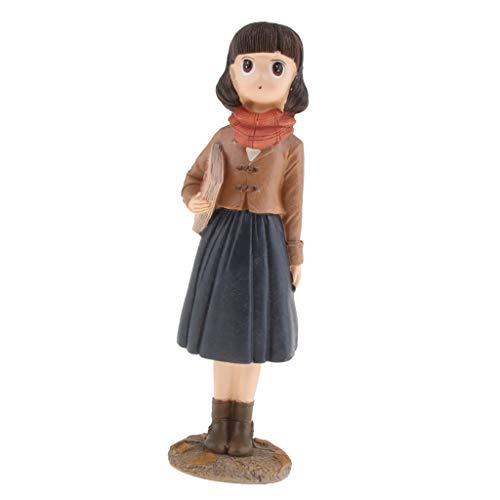 Homyl Sculptures Résine Figurine Garçon Fille Objets de Décoration Statue Résine - Fille Debout