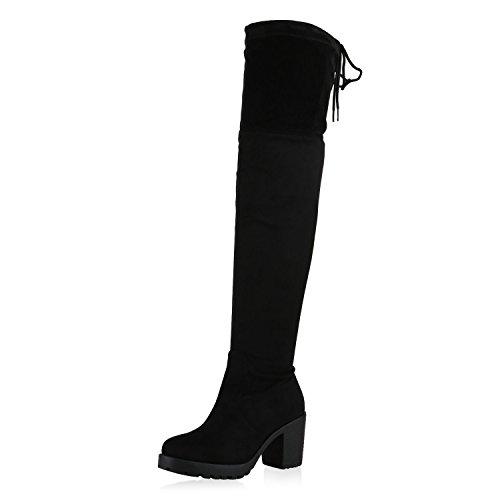 napoli-fashion Damen Schuhe Stiefel Overknees Langschaft Boots Blockabsatz High Heels Schwarz Schleifen 38 Jennika