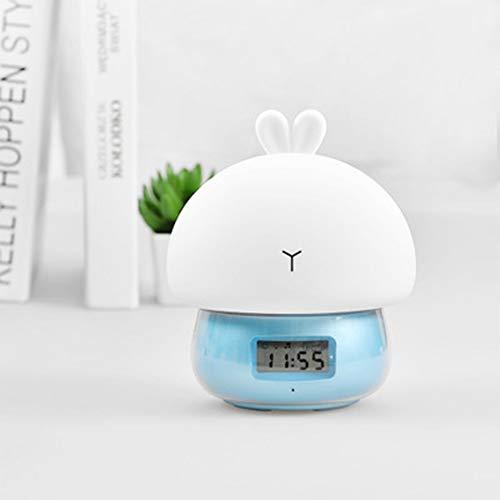 YIKAE LED del Silicone del Coniglio Clock, USB di Ricarica Salute Materiale Attenuazione Stepless, Delicato di Sonno, Adatto A Scuola, Famiglia, Fidanzata, Natale, Regalo di Compleanno