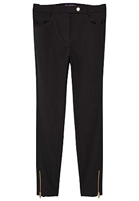 VIOLETA (Plus Size) - Zip cotton Slim trousers