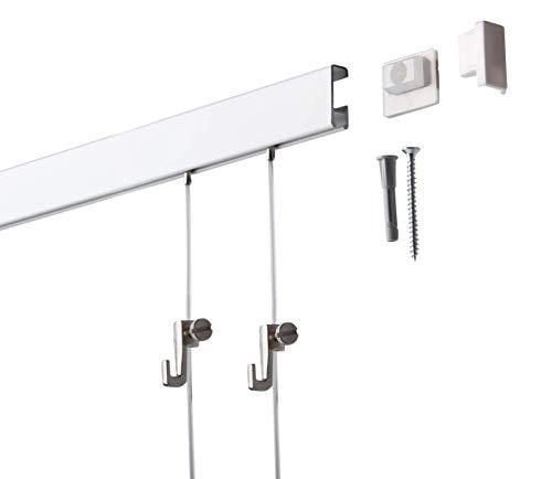 2 Meter SOFT-RAIL® Bilderschienen Set, Mini Bilderhaken, Weiß beschichtet, versch. Längen und Farben - 1 2 Nylon-seil