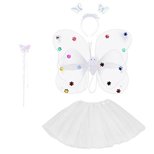 s Baby Rock Tutu Kleidung Schmetterling Kostüm Foto Prop Outfits Bekleidung Set - Weiß ()