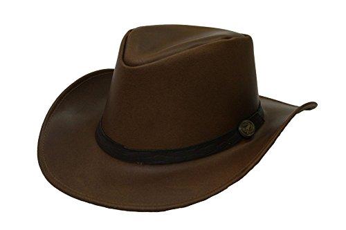 diesig blau Unisex Leder Hat Adelaide Cowboy Australian Echt Leder Braun braun M (Adelaide Leder)