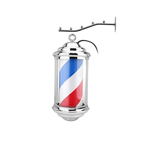 kodnn LED 28cm Poste de Barbero Luminoso Giratorio Esclarecedor para Peluquería Rayas Impermeable y Blanco Red&Blue