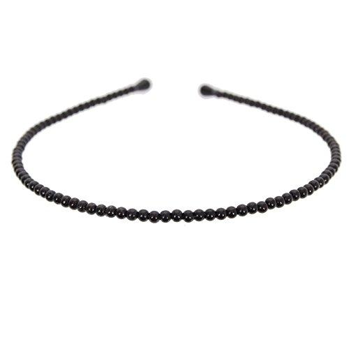 JUSTFOX - Mädchen Perlen Haarreif Kommunion in schwarz