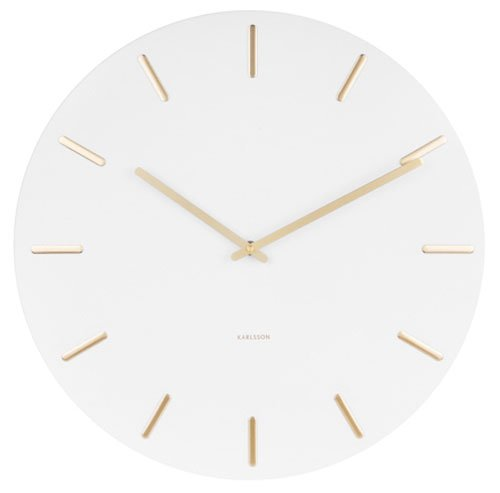 Karlsson Present Time Wall Clock Charm - Weiss/Gold - Ø 45cm, H. 3,5cm
