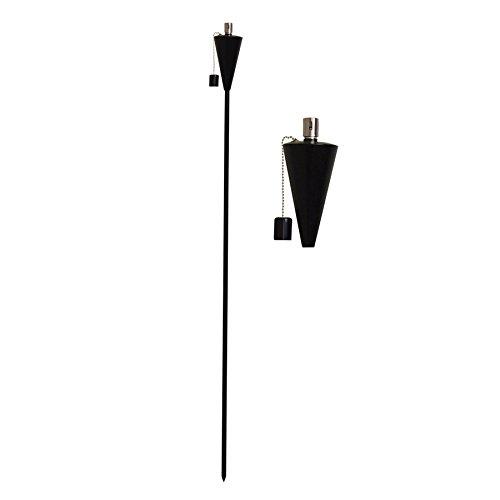 Harbour housewares torcia/lanterna a fiamma, da giardino, a olio/paraffina, design a triangolo, colore nero, da 1.460 mm