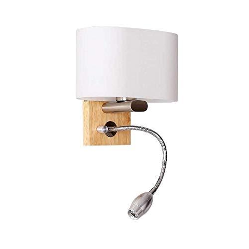 FUSKANG Applique da parete della camera da letto, lampada da parete moderna in legno con tubo regolabile LED E27 Semplice paralume in vetro bianco creativo dell'hotel Soggiorno camera da letto Lampada