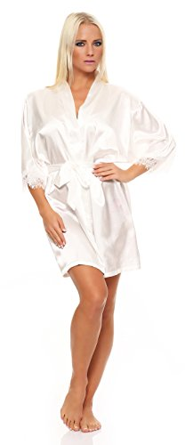 AE Damen kurzer Kimono Nachtmantel Seidenrobe Morgenmantel Nachtwäsche Dessous Satin Nightwear Reizwäsche mit Spitze Gr. S-XL Ecru M Satin Trench
