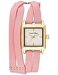 Reloj mujer Louis Villiers reloj 19 mm de acero blanco y pulsera rosa piel lv2073