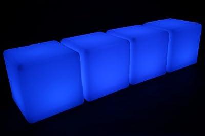 4x point-garden Leuchtwürfel LED Farbwechsel 43cm Lampe Würfel Sitzwürfel Akku FB