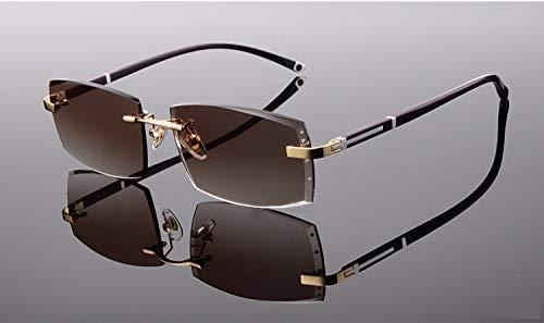 LKVNHP Neue Hochwertige Randlose Sonnenbrille Für Männer Verschreibungspflichtige Sonnenbrillen Für Den Menschen Angepasst Myopie -1,0-1,5-2,0-2,5 1,61 Index Harz ObjektivGold Und Braune Linse