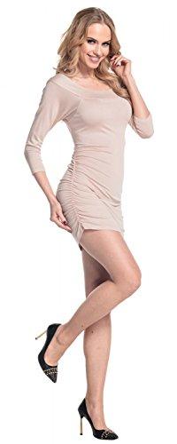 Glamour Empire Femme. Robe moulante fronces sur les côtés tunique top. 973 écru