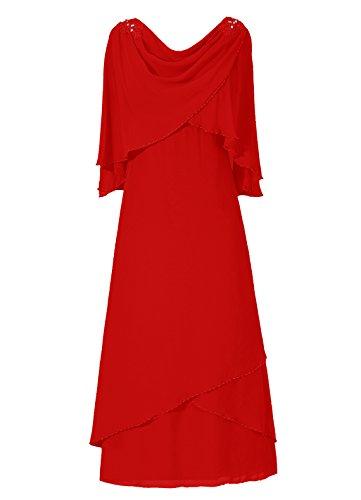 Dresstells, A-ligne robe mousseline de mère de mariée Rouge