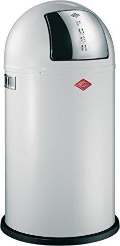 Wesco 175 831 Pushboy Abfallsammler 50 Liter weiß 40 x 40 x 75.5cm (L/B/H), Edelstahl