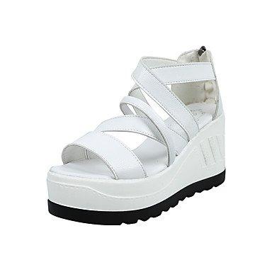 LvYuan Sandalen-Outddor Kleid Lässig-PU-Keilabsatz-Andere-Schwarz Rosa Weiß White