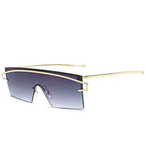 MJDABAOFA Sonnenbrillen,Rahmenlose Oversized Sonnenbrille Gold Gestell Grau Objektiv Frauen Groß Schild Sonnegläser Weibliche Designer Neue Jahrgang Gradient Schattierungen Brillen