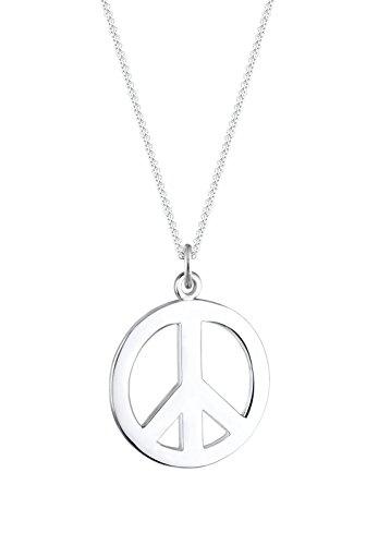 (Elli Damen-Halskette mit Anhänger Boho Peace Zeichen Festival Hippie Look silber 925)