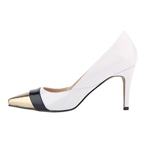 OASAP Damen Farbe-Block Pumps mit Spitzen Zehen und Stöckelabsatz White