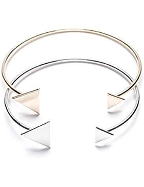 Happiness Boutique Damen Dreieck Cuff Armband Set in Gold und Silber