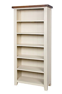 Woodbury Dove Grey Painted Chunky Rustic Dark Oak Large Open Bookcase Display Cabinet , Dark Oak / Dove Painted Base, H 185 x W 85 x D 43